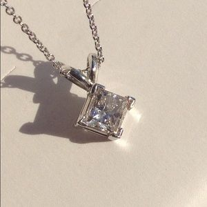 Jewelry - 3/4 Carat Princess Cut Solitaire Necklace 14k Whit